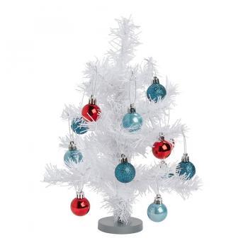 Yılbaşı Ağacı Top Süslemeli 30 cm Beyaz