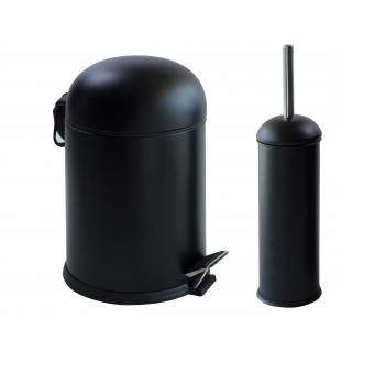 Dibanyo Bon Banyo Seti 2'li Çöp Kovası Klozet Fırçası Siyah