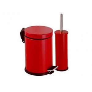 Dibanyo Banyo Seti 2'li Çöp Kovası Klozet Fırçası 12 Litre Kırmzı