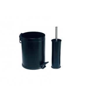 Dibanyo Banyo Seti 2'li Çöp Kovası Klozet Fırçası 12 Litre Siyah