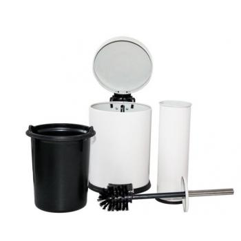 Dibanyo Banyo Seti 2'li Çöp Kovası&Klozet Fırçası Beyaz