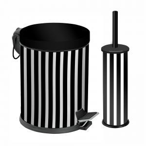 Dibanyo Banyo Seti 2'li Siyah Beyaz Çizgili 5 litre