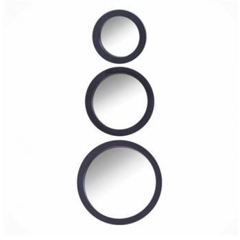 3 lü Yuvarlak Çerçeveli Ayna Siyah